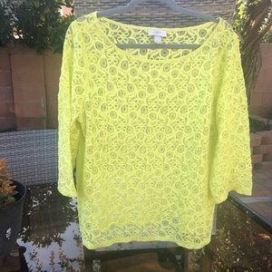 Ann Taylor Loft Neon Yellow Lace Top size XL